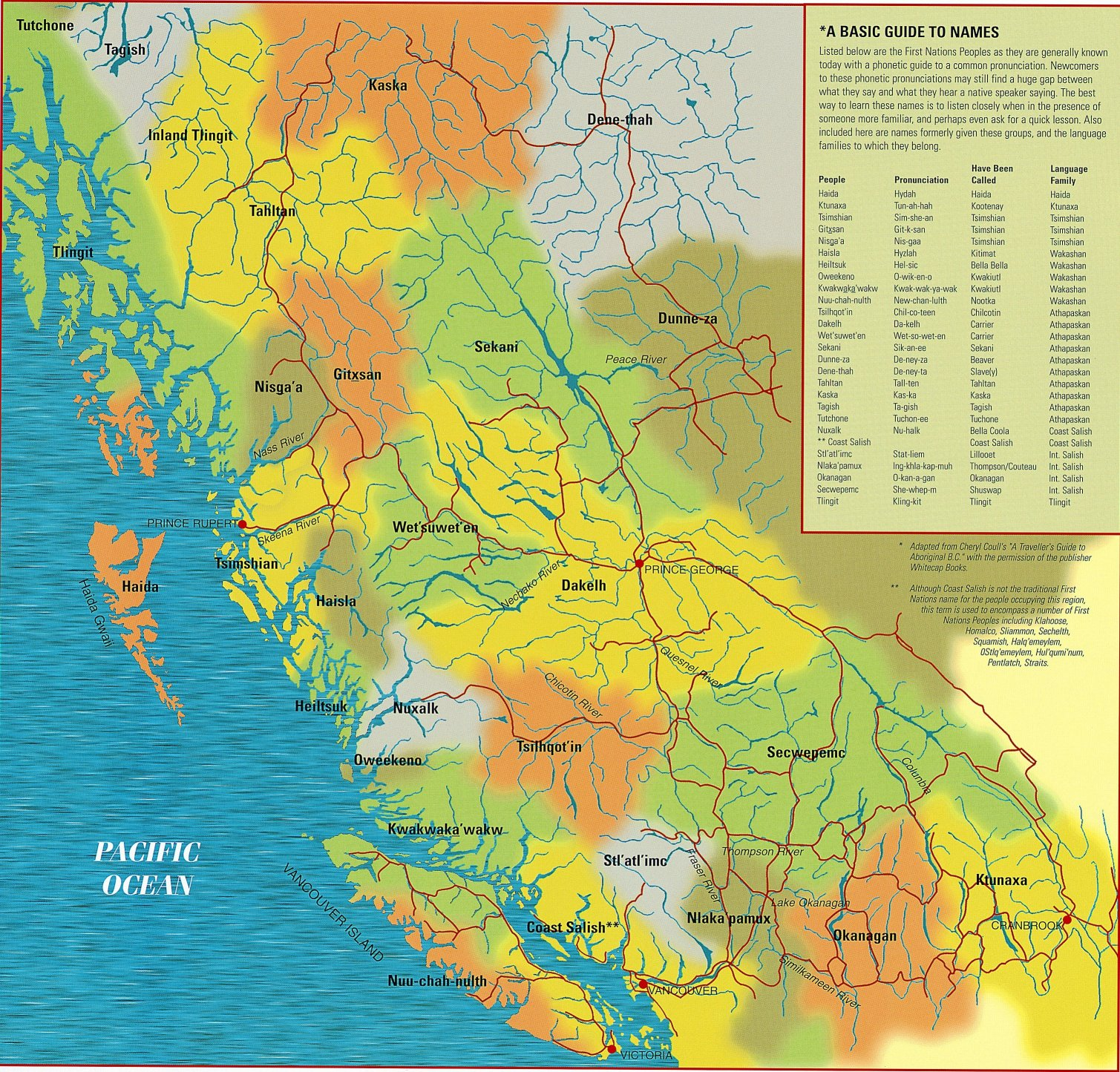 First Nations Map of British Columbia Aboriginal Vancouver