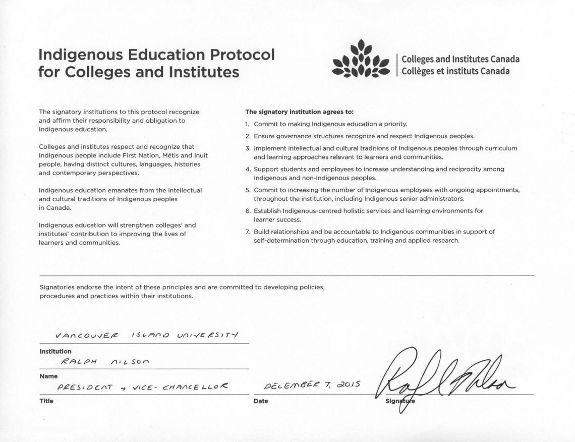 VIU Indigenous Education Protocol